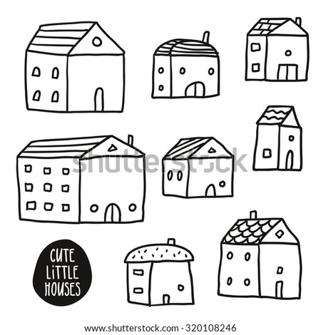 Set of cute vector sketch houses isolated on white, line art in childish style - stock vector