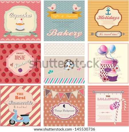 set of cute vintage labels and invitation cards - stock vector