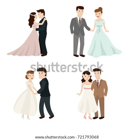 Set cute wedding couple bride groom stock vector 721793068 set of cute wedding couple bride and groom isolated on white background junglespirit Gallery