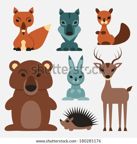Set of cute wild animals who live in the forest - stock vector