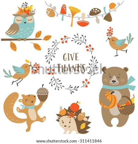 Set of cute woodland animals for autumn and Thanksgiving design. - stock vector