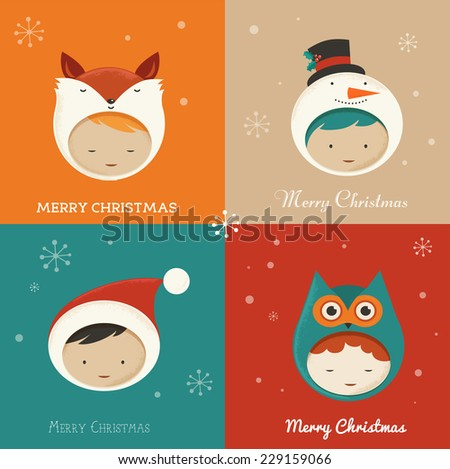 Set of cute Xmas Cards. Sweet hipster design greetings and background with kids - stock vector
