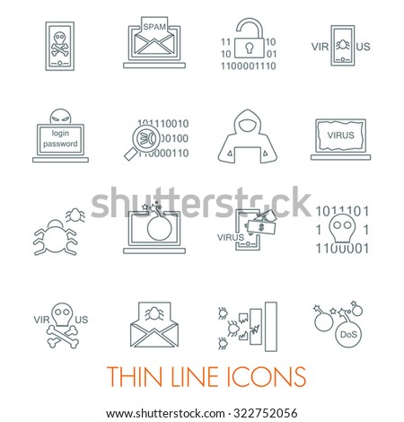 Set of cyber virus digital protection hacker attack icons  - stock vector