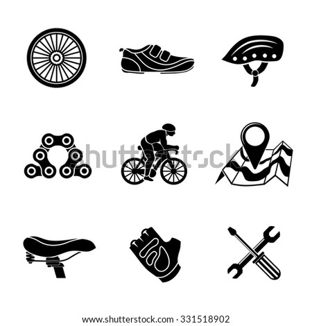 Set of Cycling freehand icons with - wheel, shoe, helmet, chain, cyclist, map with gps, saddle, glove, repair tools. Vector - stock vector