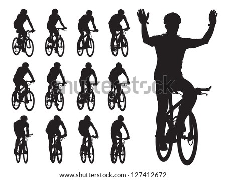 Set of cyclist's silhouettes in the bicycle race. Sport illustration. - stock vector
