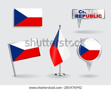 Set of Czech Republic pin, icon and map pointer flags. Vector illustration. - stock vector