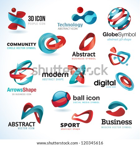 Set of 3d abstract vector icons - stock vector