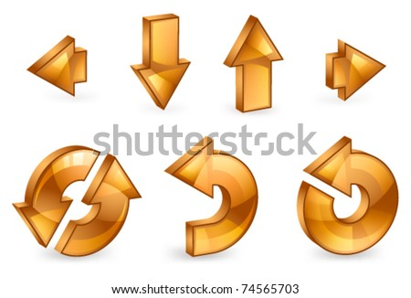 Set of 3D arrows on a white background - stock vector