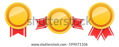 Set of 3d blank gold award badges with red ribbon isolated on white. Empty medals for your design. Vector illustration