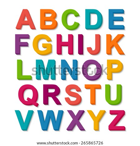 Set of 3D colorful alphabet - stock vector