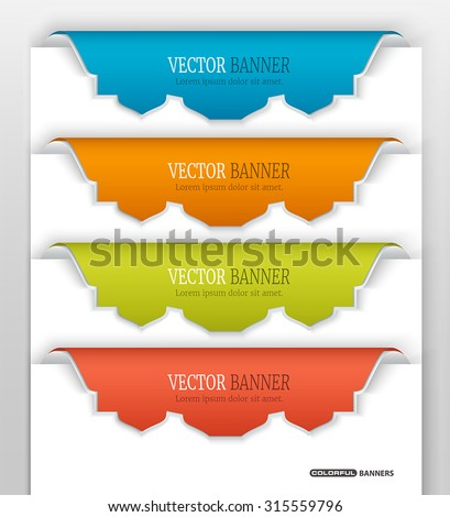 Set of 3d colorful stickers on white paper with Islamic design - stock vector
