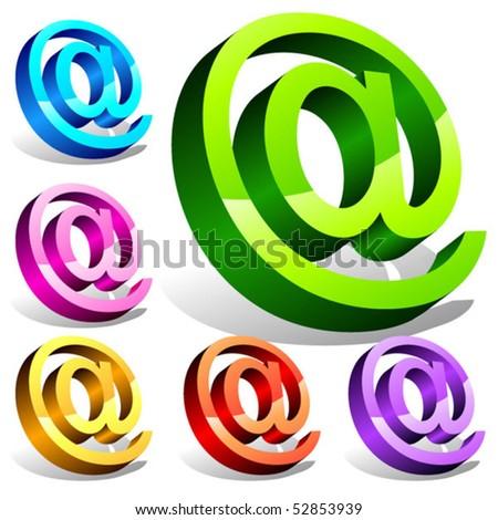 Set of 3d email symbols. Vector - stock vector