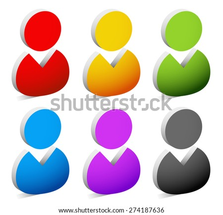 Set of 3d figure, character icons - stock vector