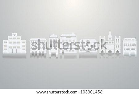 Set of 3d icons of building. A vector illustration - stock vector