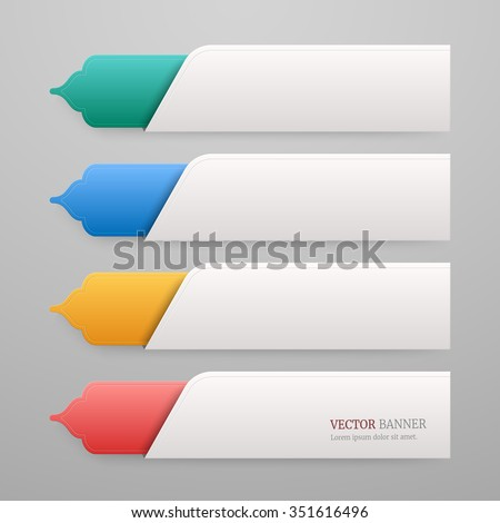 Set of 3d infographic tab template with Islamic design - stock vector