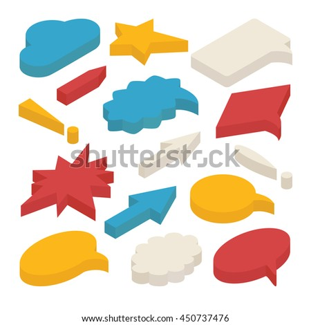 Set of 3d isometric speech bubbles isolated on white background. Includes circle, star and rectangle shapes, arrows, clouds, exclamation marks. - stock vector