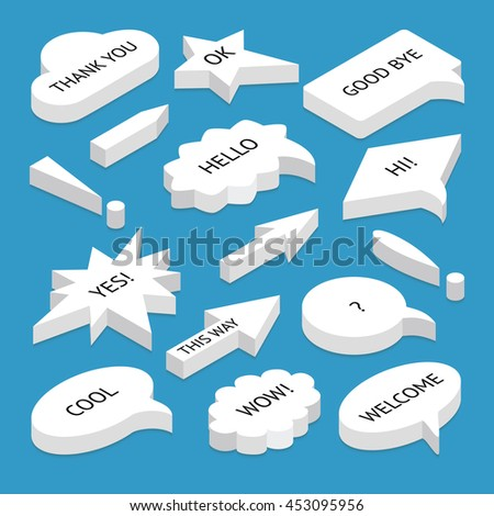 Set of 3d isometric speech bubbles with text, with shadow, isolated. Includes circle and rectangle shapes, isometric arrows, exclamation marks. - stock vector