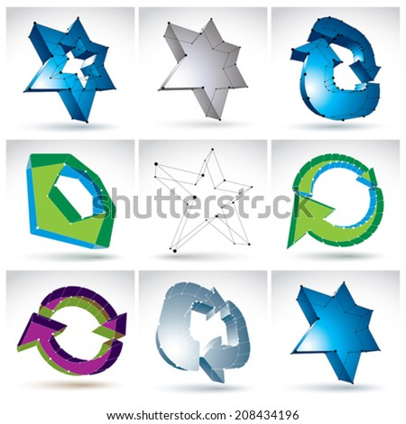 Set of 3d mesh colorful abstract objects isolated on white background, collection of stylish geometric icons, bright dimensional tech symbols with white connected lines, clear eps 8 vector. - stock vector