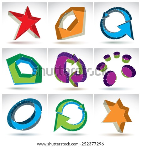 Set of 3d mesh colorful abstract objects isolated on white background, collection of stylish geometric icons. Glossy stars, arrows, abstract elements and refresh icons. - stock vector