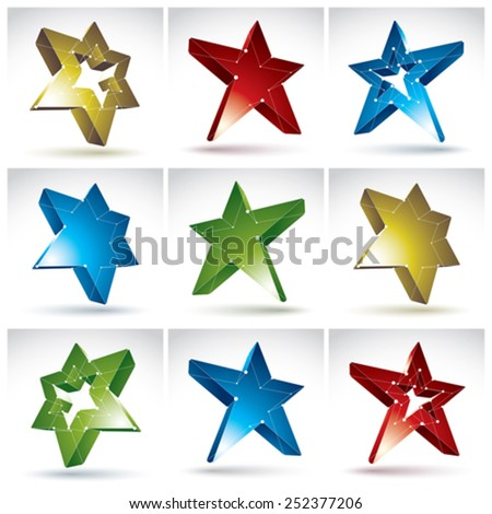 Set of 3d mesh stars isolated on white background, collection of colorful elegant lattice superstar icons, tech objects with white connected lines, bright clear eps 8 vector illustration - stock vector