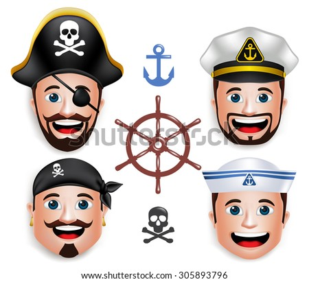 Set of 3D Realistic Faces, Head of Man Sailors like Pirates and Ship Crew with Hats Isolated in White Background. Vector Illustration - stock vector