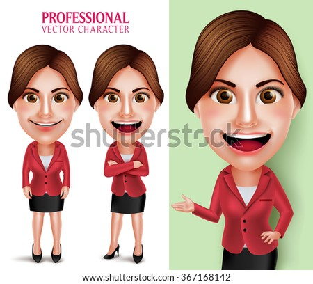 Set of 3D Realistic Good Looking Professional School Teacher or Businesswoman Vector Character Smiling Crossed Arms while Talking Isolated in White Background. Vector Illustration - stock vector