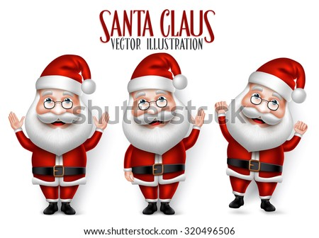 Set of 3D Realistic Santa Claus Cartoon Character for Christmas Saying Hello Isolated in White Background. Vector Illustration  - stock vector
