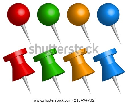 Set of 3d thumbtacks, push pins vector - stock vector