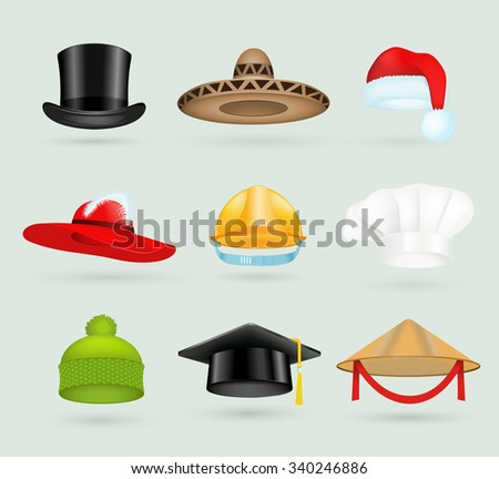 Set of 3d top hats different professions. Cartoon top hats. Baseball cap, cook hat, chef hat, santa hat. Hat icons vector set. Hats isolated silhouette. Autumn, winter hat, worker hat, graduation hat - stock vector