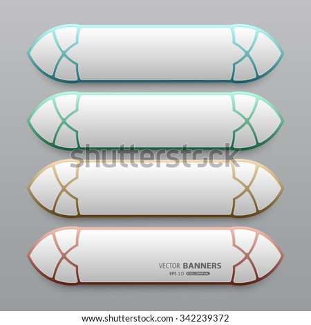 Set of 3d traditional Arabic banners with Islamic design, Arabesque banners with colorful frames - stock vector