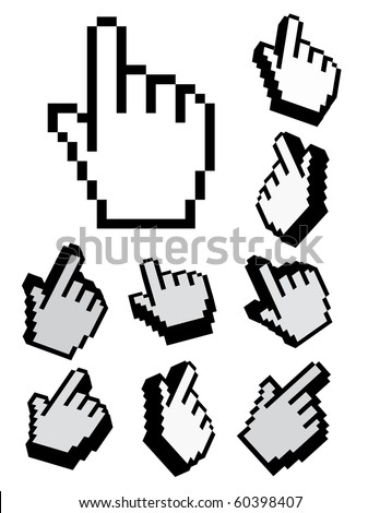 set of 3d vector and pixel cursors - stock vector