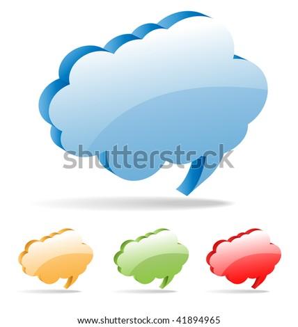 Set of 3D vector cloud thinking bubbles for comics or web. - stock vector