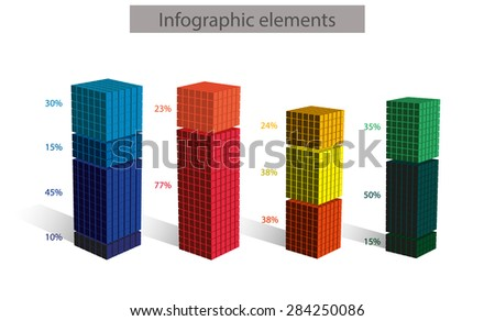 Set of 3d vector cubic diagram with numbers pointing percentage, consisted from small cubic elements, isolated on white, business infographic diagram elements, Vector data presentation template - stock vector