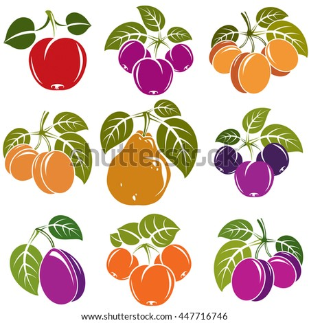 Set of 3d vector ripe fruits and berries with green leaves, fruity trees design elements isolated on white background. - stock vector