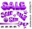 Set of 3d violet sale icons. Vector - stock vector