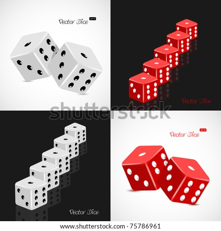 Set of 3D white and red dice vector illustration - stock vector