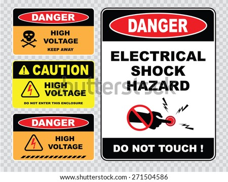 set of Danger High Voltage signs (danger electrical shock hazard, do not touch, danger high voltage keep away, caution high voltage do not enter this enclosure) - stock vector