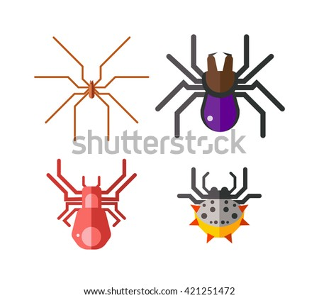 Set of danger insects on white background. Danger insects vector animal bugs set and danger insects pest nature animal. Infection wildlife disease danger insect and poisonous virus dengue health fever - stock vector