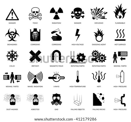 Set of danger restricted and hazards signs icon,  vector EPS8 illustration - stock vector