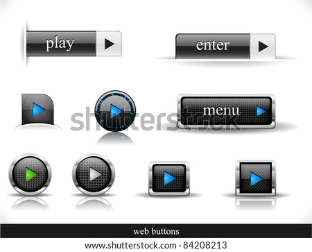 Set of dark buttons. Vector eps10  illustration. - stock vector