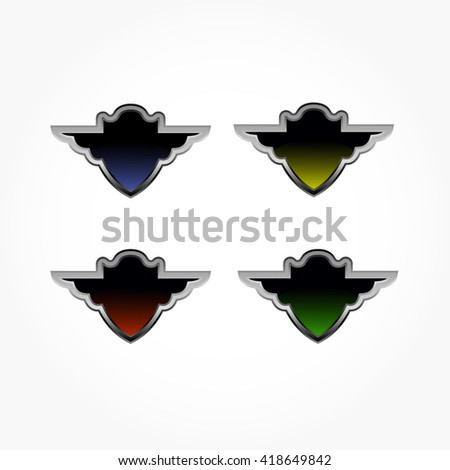 set of dark glossy colored shields. four shields in four colour, blue, yellow, red, and green with black gradient - stock vector