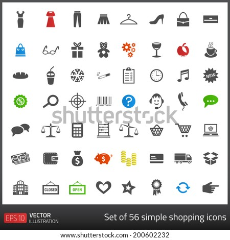 Set of 56 dark grey icons related to shopping with white background. Vector format - stock vector