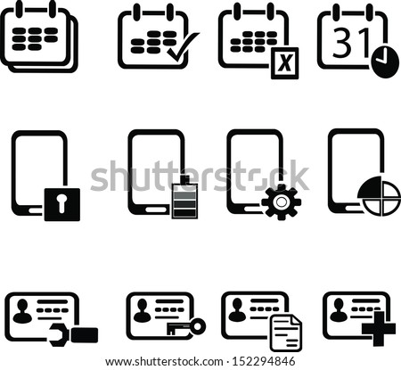 set of data privacy icons - stock vector