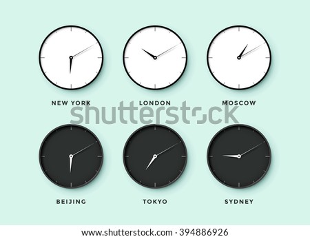 Set of day and night clock for time zones different cities. Black and white watch on a menthol background. Vector Illustration - stock vector