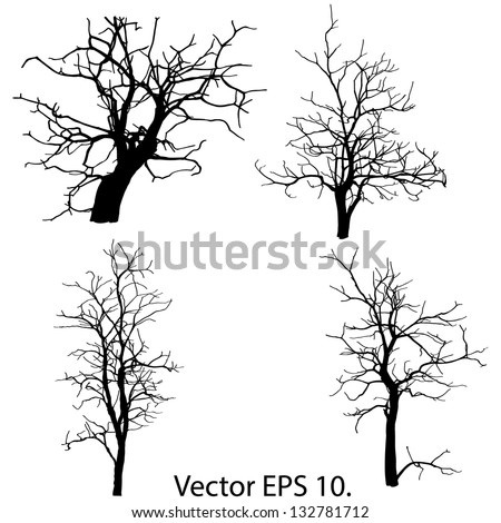 Set of Dead Tree without Leaves Vector Illustration Sketched, EPS 10. - stock vector
