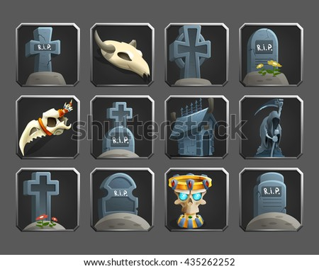 Set of decoration icons for games. Grave, death and sculls. Vector illustration. - stock vector