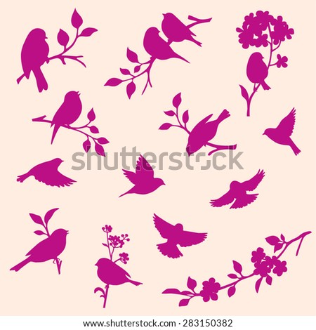 set of decorative bird and twig silhouettes - stock vector