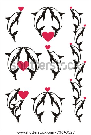 Set of decorative black dolphins with red hearts for valentine day. Vector elements for valentine day design - stock vector
