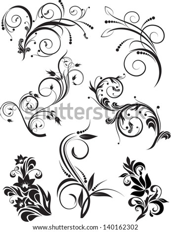 Set of decorative branches for design. Vector illustration.