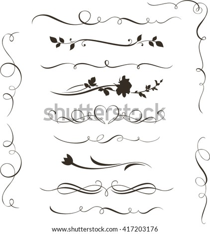 Set of decorative calligraphic elements, floral dividers and flower silhouettes for your design.  - stock vector